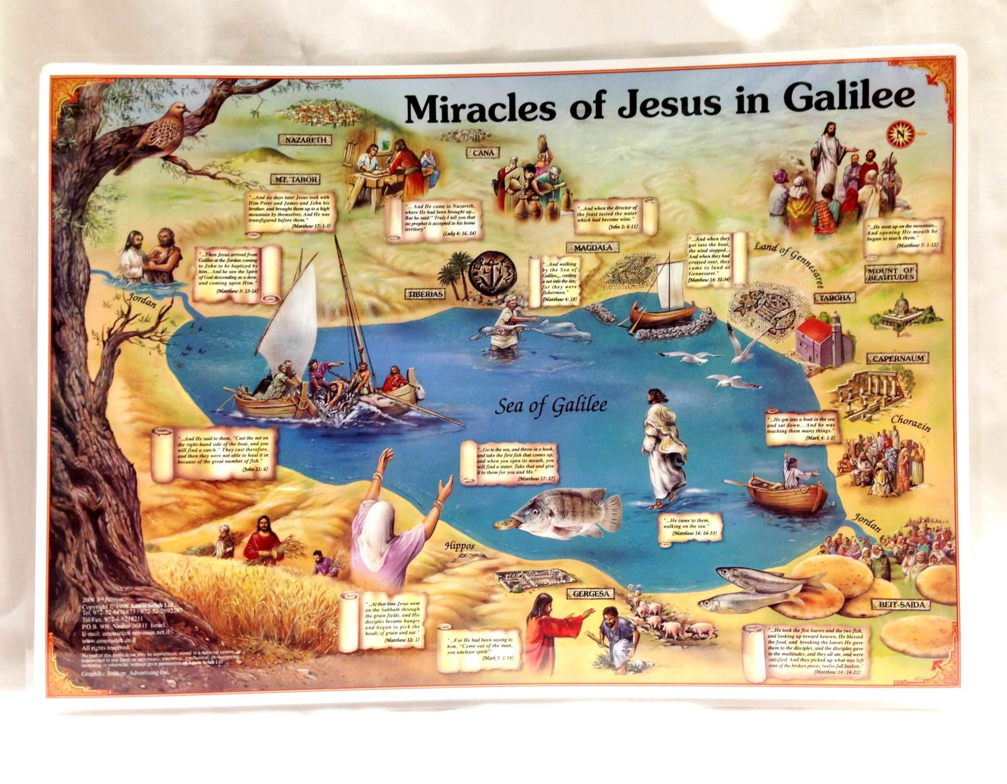 miracles of jesus in galilee u0027 2 sided placemat yardenit