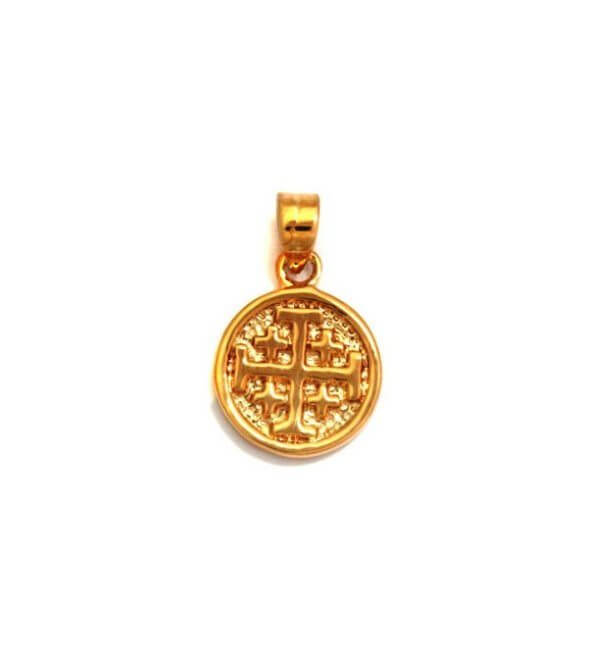 Gold Filled Jerusalem Cross small Medallion