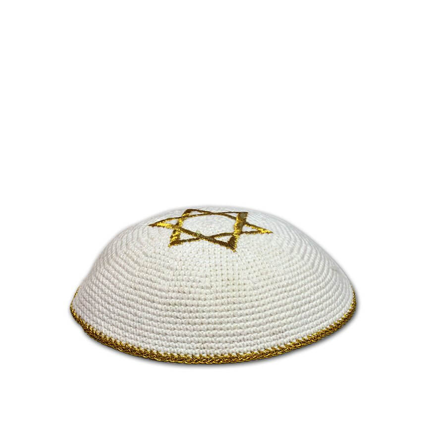 Star of David Kippah, Gold and White