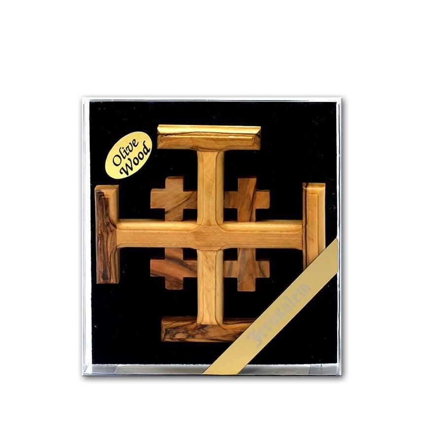Hand Made Olive Wood Jerusalem Cross