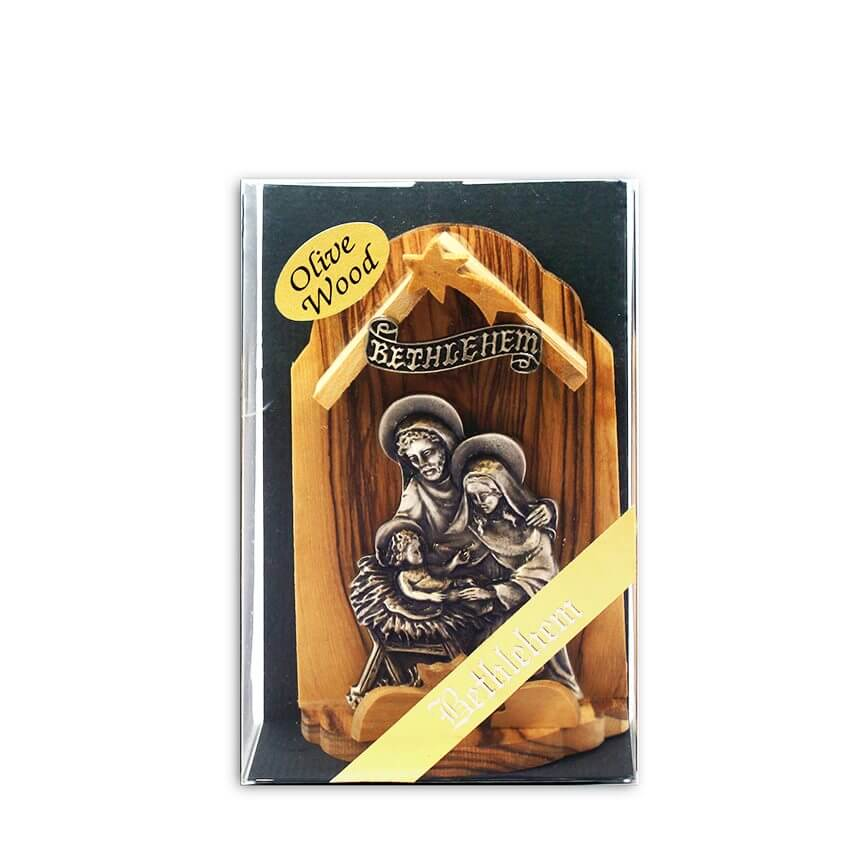 Olive Wood and Pewter Application Nativity Scene