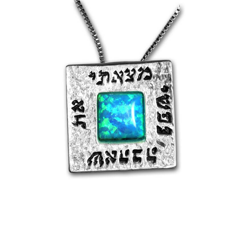 Scripture Necklace with Opal Stone