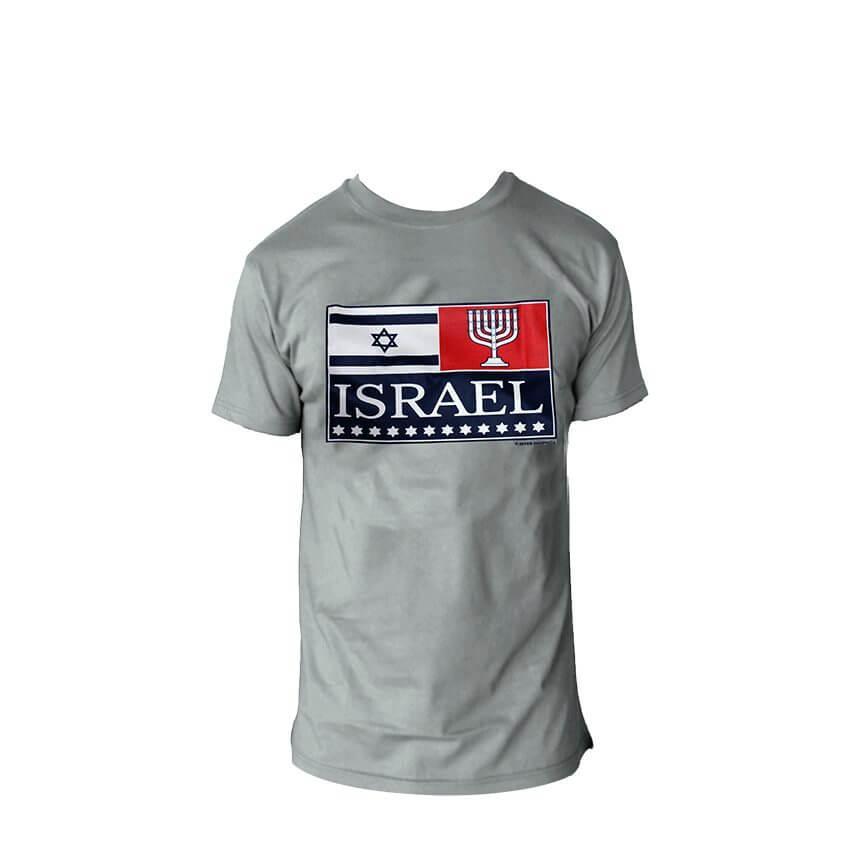 ISRAEL Flag Menorah T-Shirt. Grey