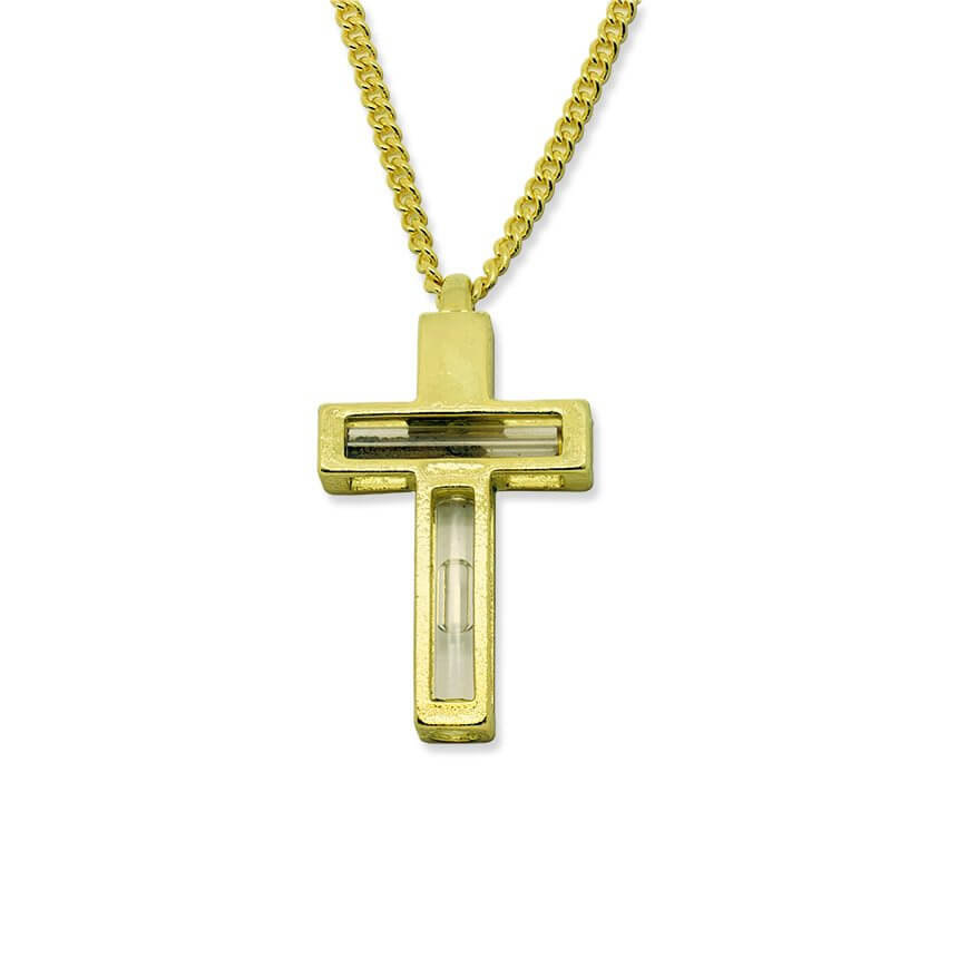 Golden Cross with Holy Water and Holy Soil