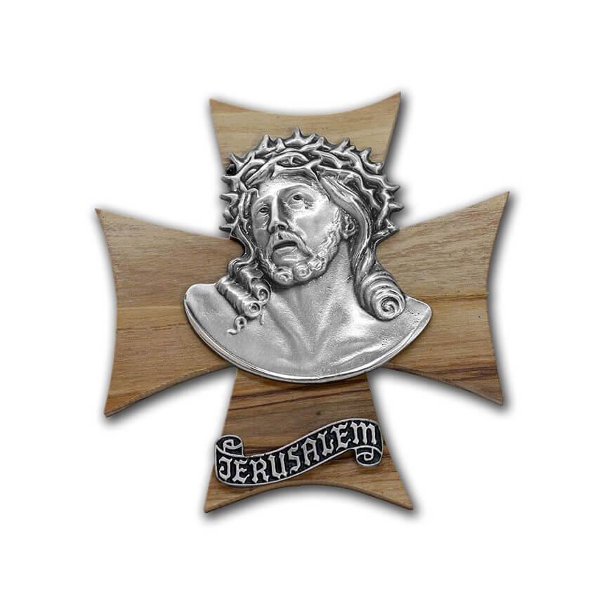 olive wood cross with jesus and jerusalem