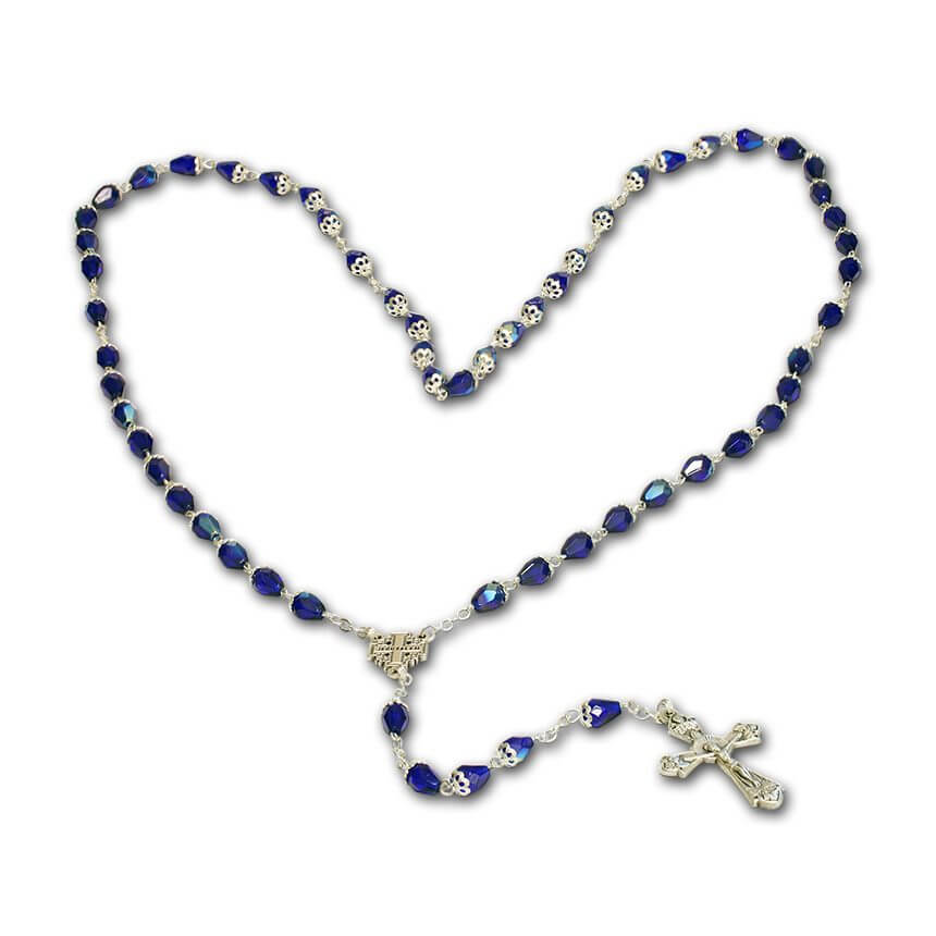 a Yardenit rosary blue cristals