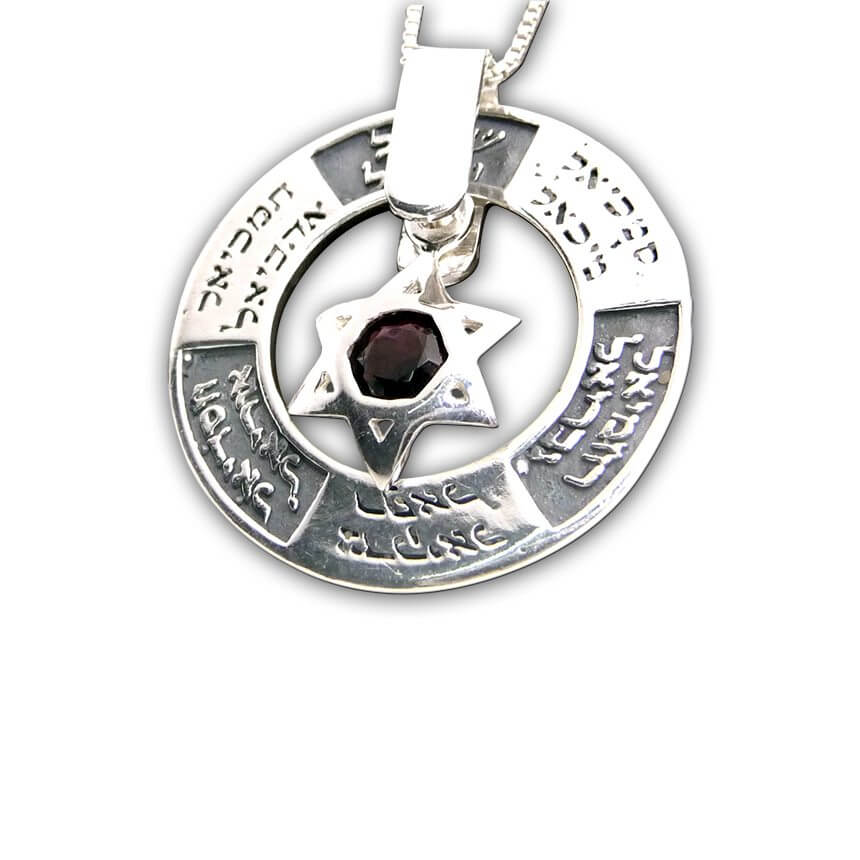 Silver Pendant with David Star, Angels Names and Onyx stone