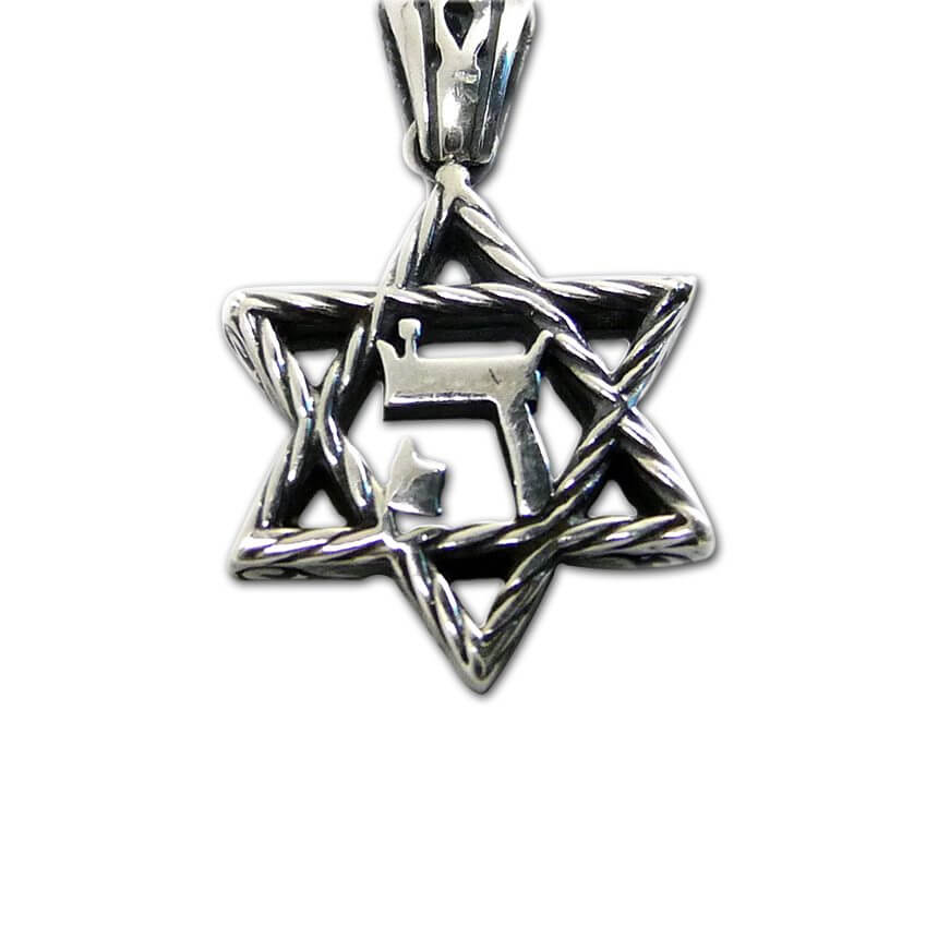 Silver Pendant, David Star with Jehovah Letter