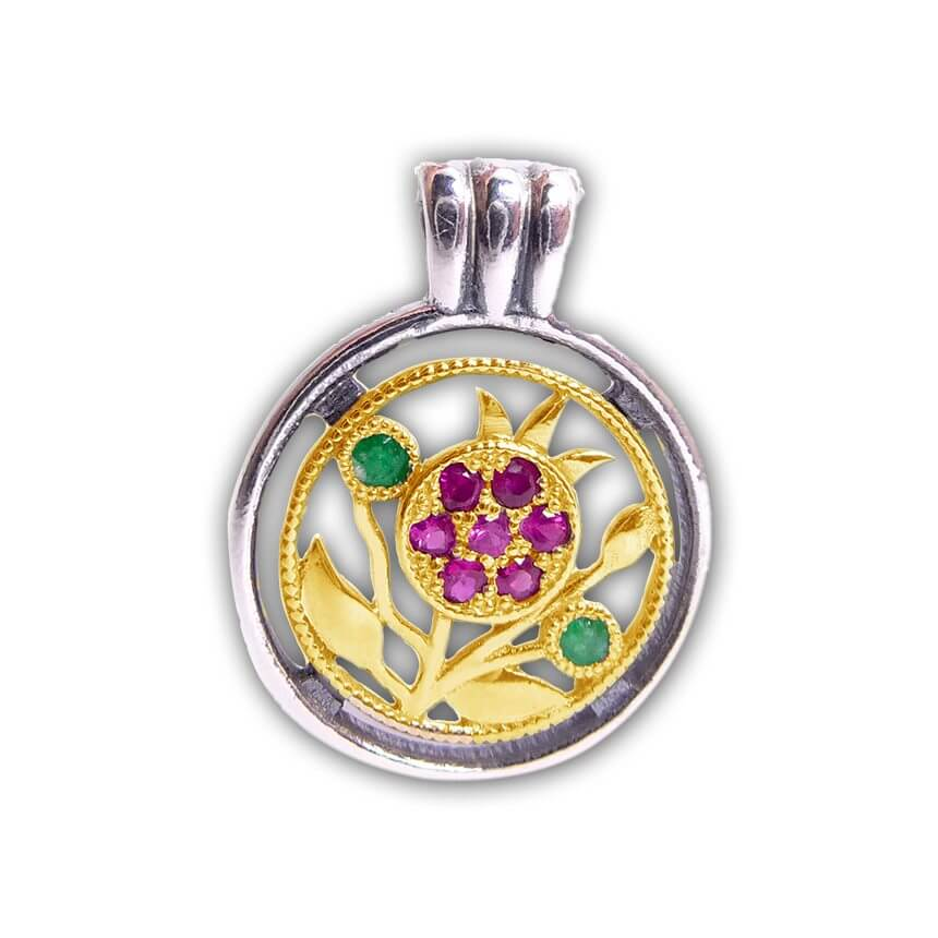 Silver and Gold Pendant, Pomegranate with Rubie and Emerald Stones