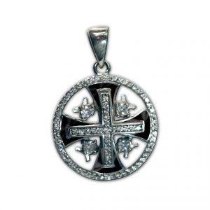 Silver Jerusalem Cross with zircons black 2