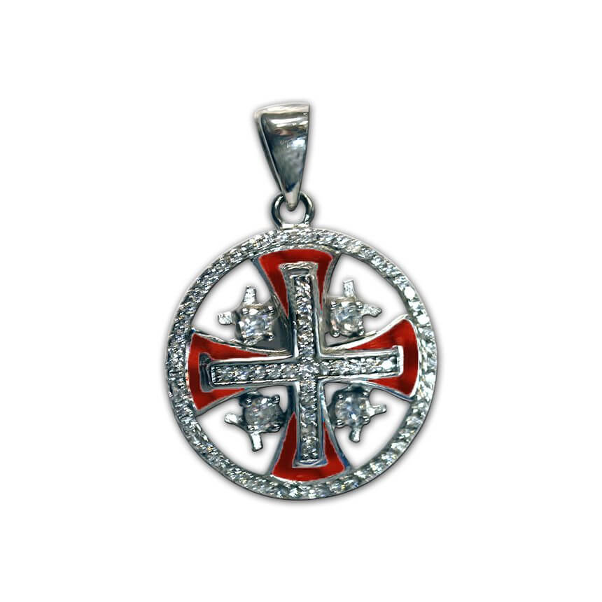 Silver Jerusalem Cross with zircons red
