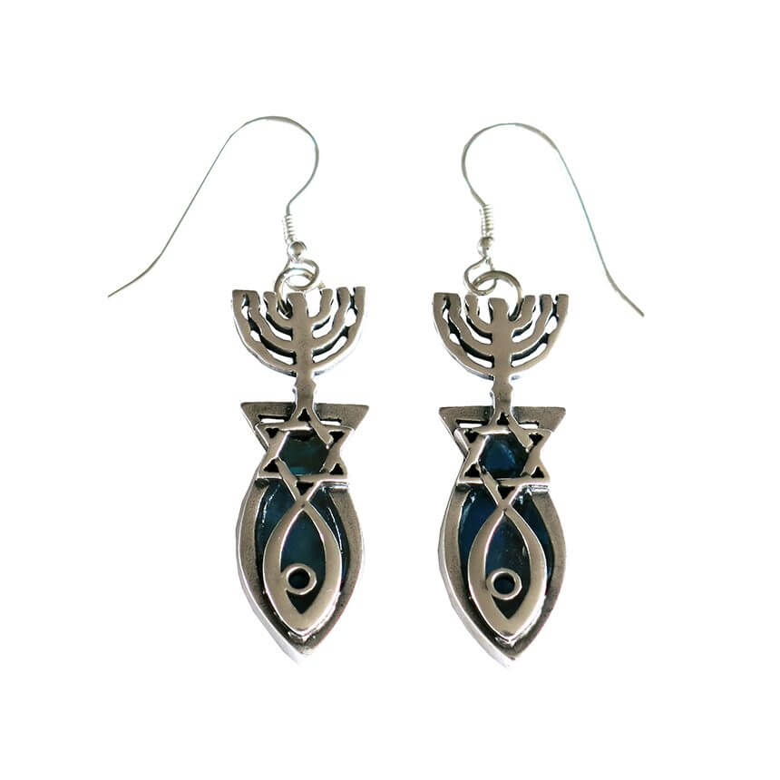Roman Glass Grafted In Earrings, Michal Kirat Design