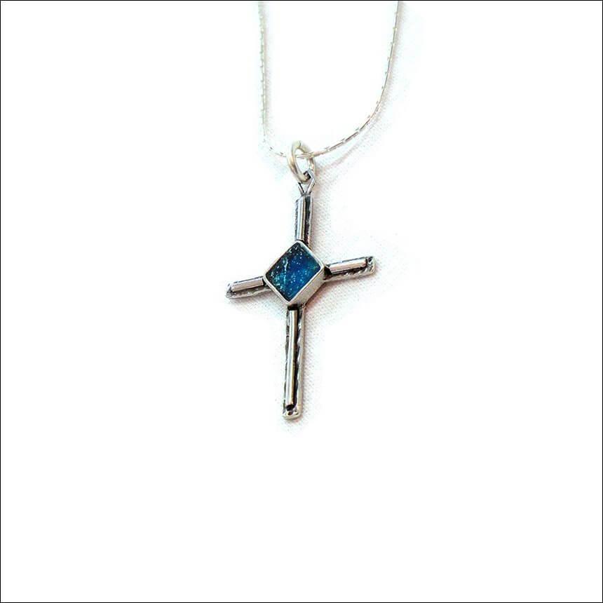 Roman Glass Chapel Cross Necklace, Michal Kirat Design