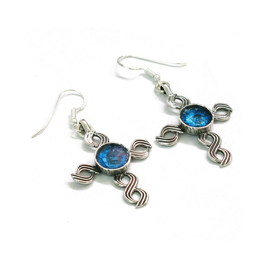 Roman Glass Capernaum Cross Earrings, Michal Kirat Design