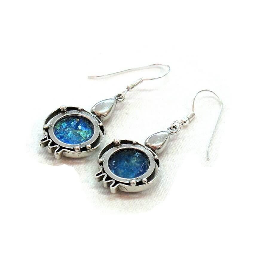 michal kirat roman glass pomegranate earrings