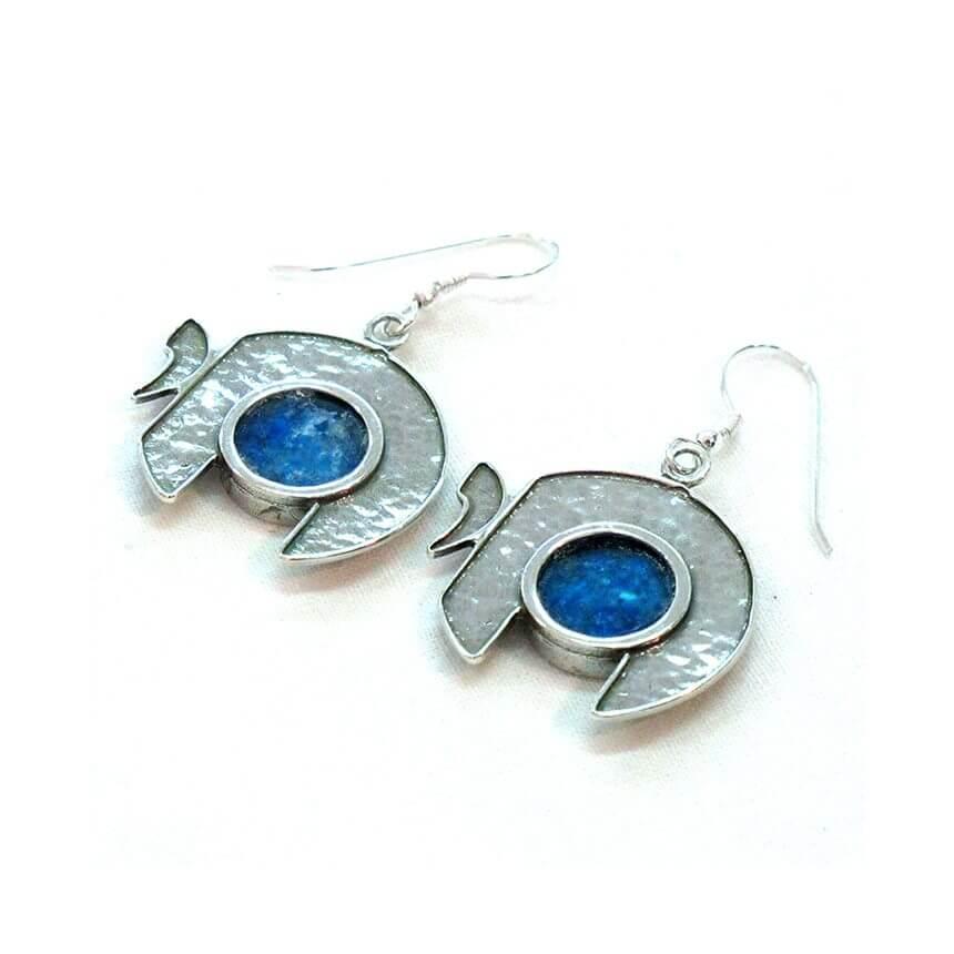 Roman Glass Chai Earrings, Michal KIrat Design