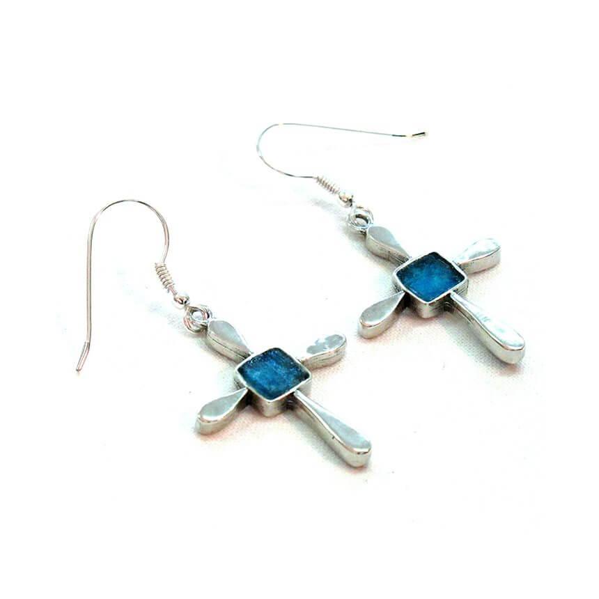 Roman Glass Floral Cross Earrings, Michal Kirat Design
