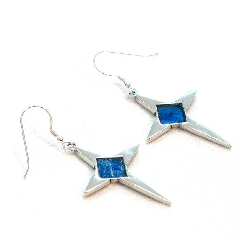 Roman Glass Christmas Star Earrings, Michal Kirat Design