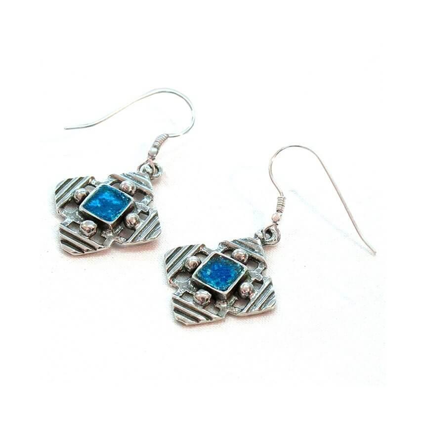 Roman Glass Modern Design Jerusalem Cross Earrings, Michal Kirat Design