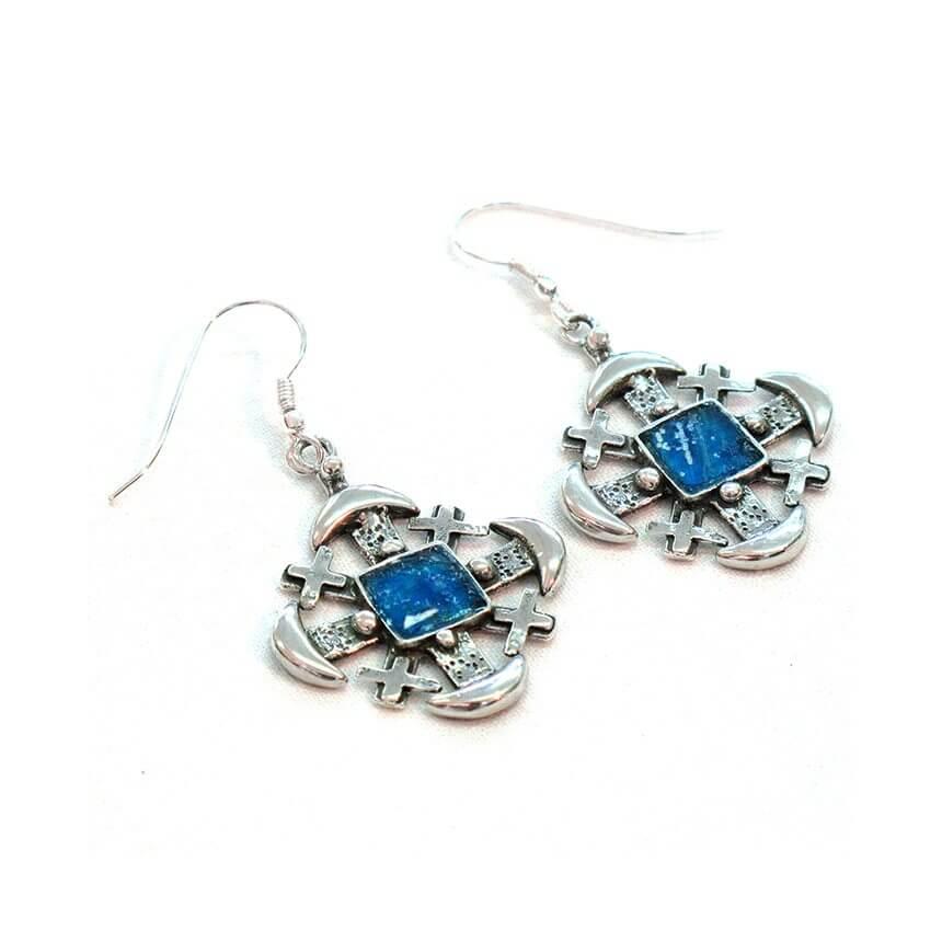 Roman Glass Fishermen Cross Earrings, Michal Kirat Design