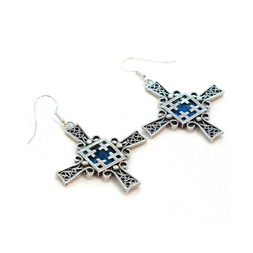 Roman Glass Road to Jerusalem Earrings, Michal Kirat Design