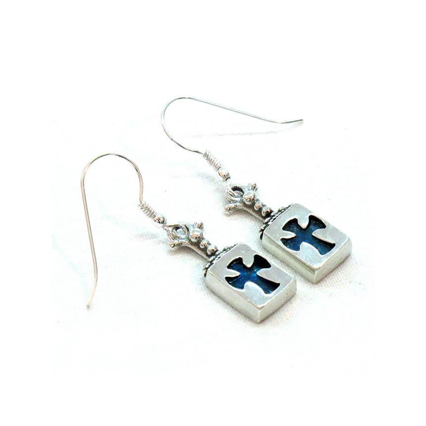 Roman Glass Medieval Cross Earrings, Michal Kirat Design