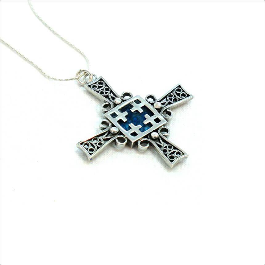 Roman Glass Road to Jerusalem Cross Necklace, Michal Kirat Design