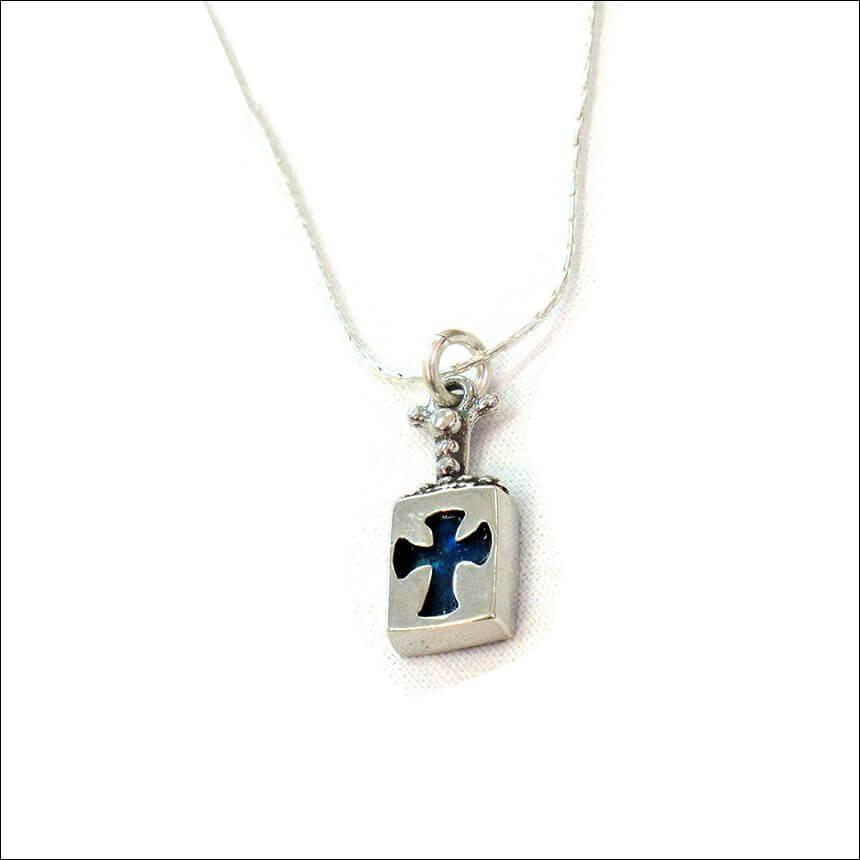 Roman Glass Medieval Cross Necklace, Michal Kirat Design