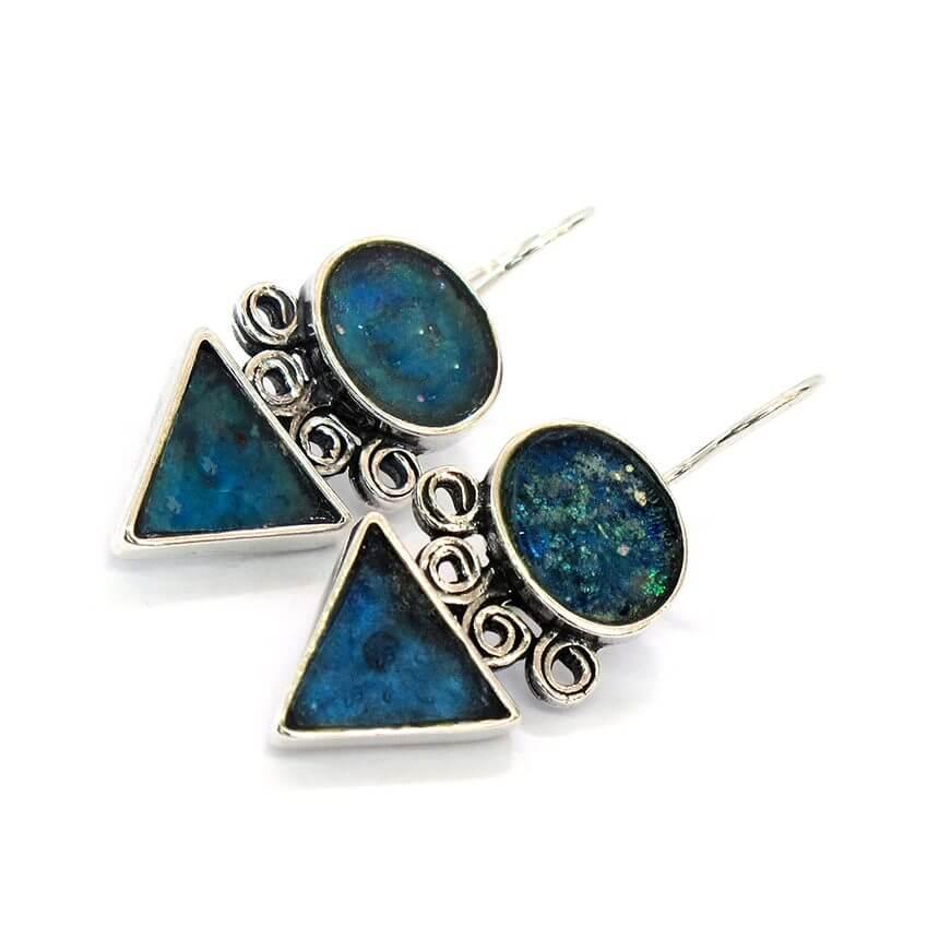 Roman Glass Arrow Shape Earrings, Michal Kirat Design