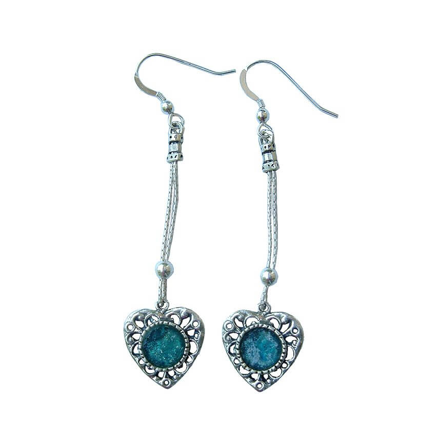 Roman Glass Heart Shape Dangling Earrings, Michal Kirat Design