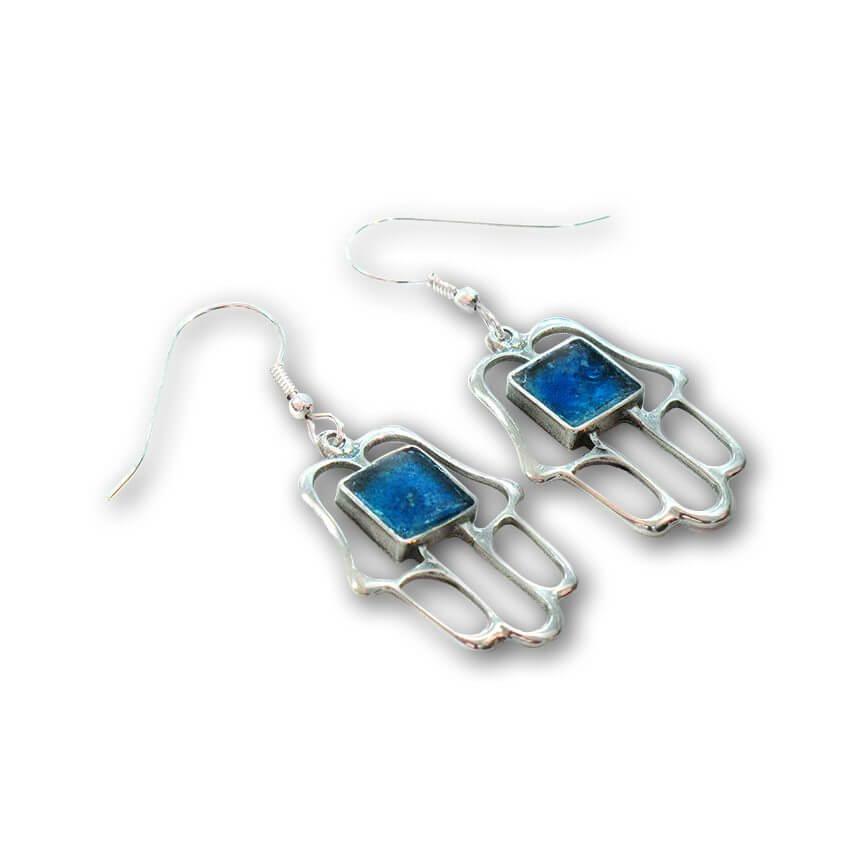 Roman Glass Hamsa Earrings, Michal Kirat Design