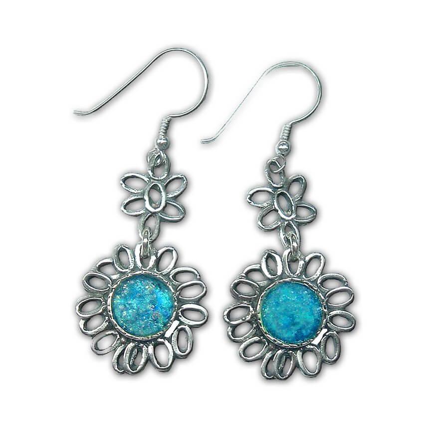 Roman Glass Floral Earrings, Michal Kirat Design