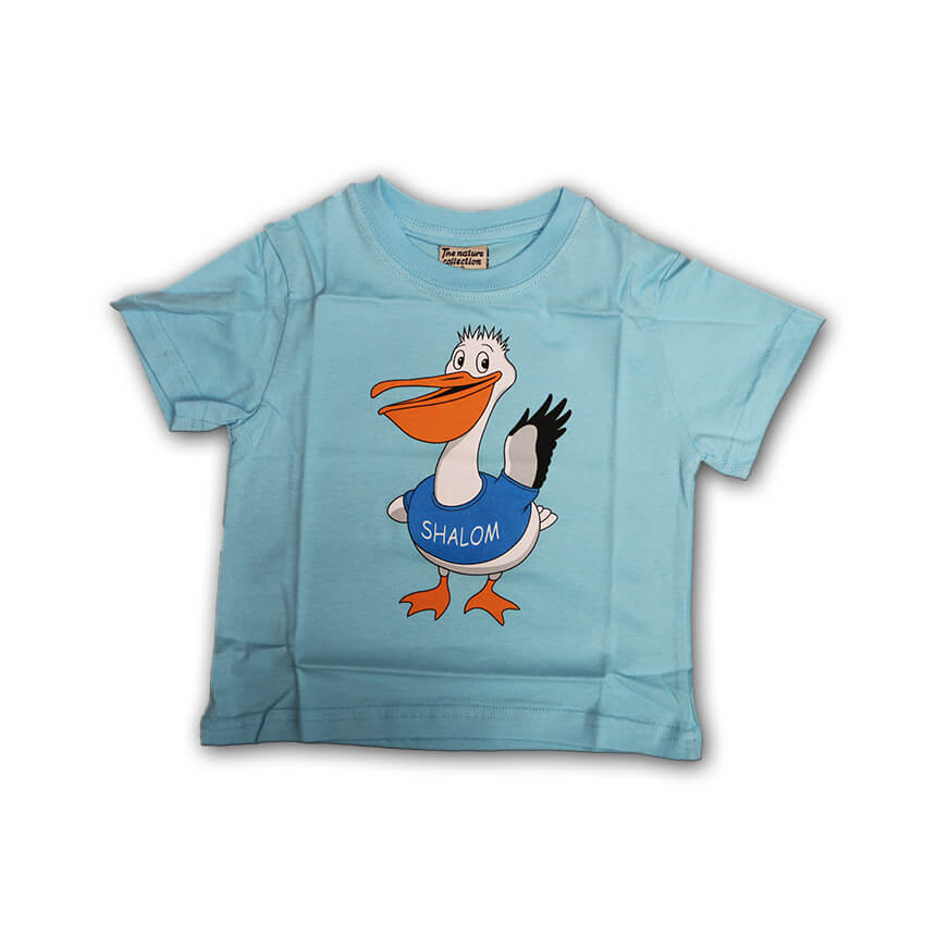 Shalom Pelican T-shirts Light Blue for Kids
