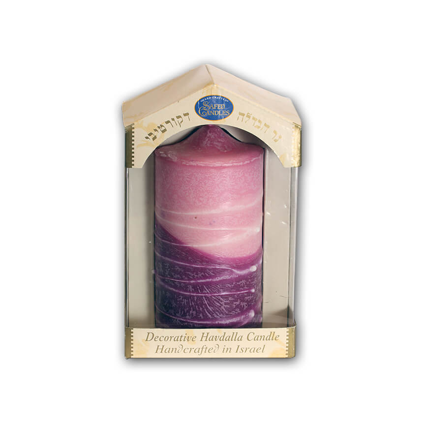dark red and pink havdalla candle