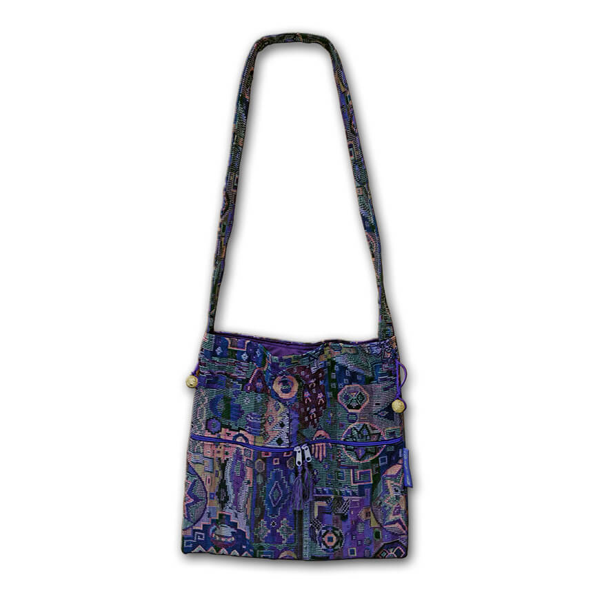 purple tote with hamsa