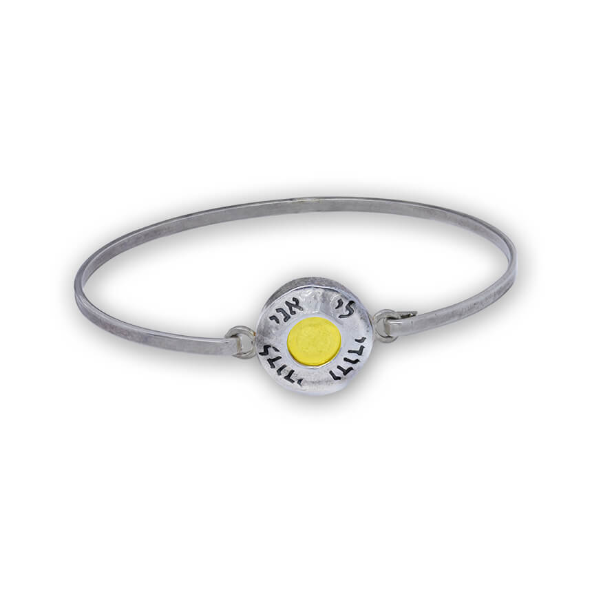 bracelet silver and circular gold plate