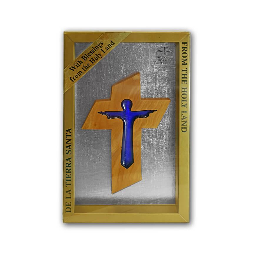 olive wood cross and blue jesus