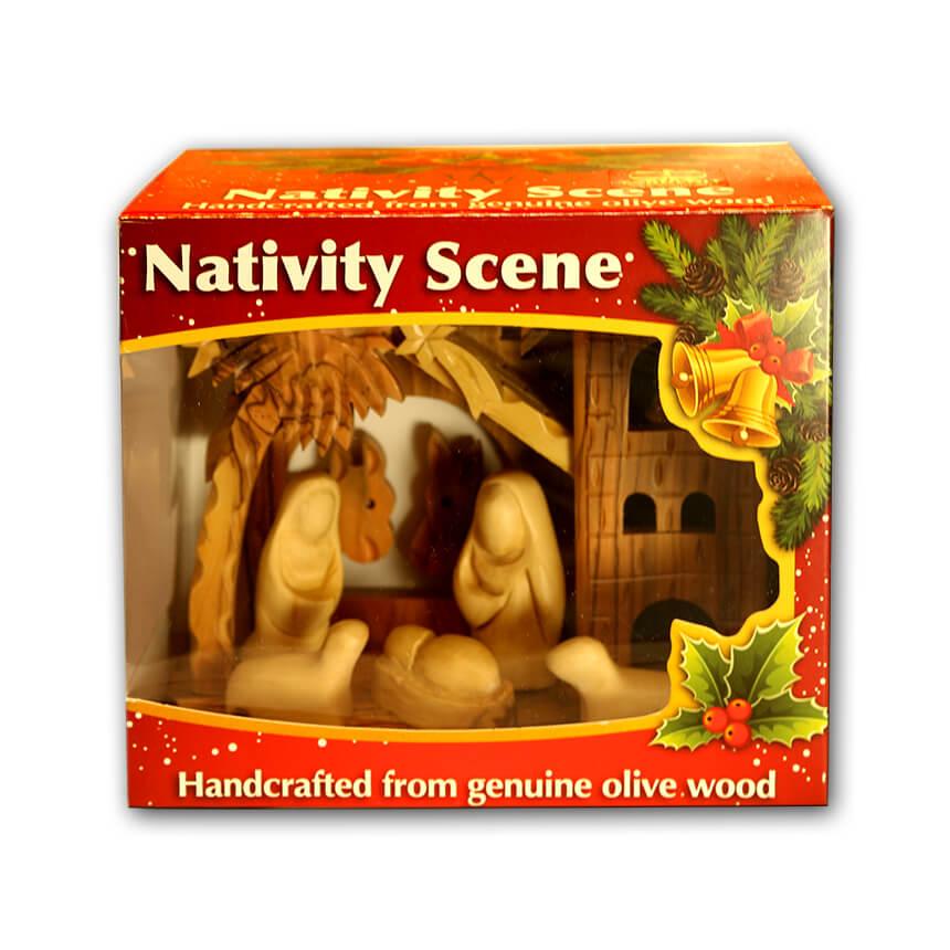 Nativity olive wood set 3