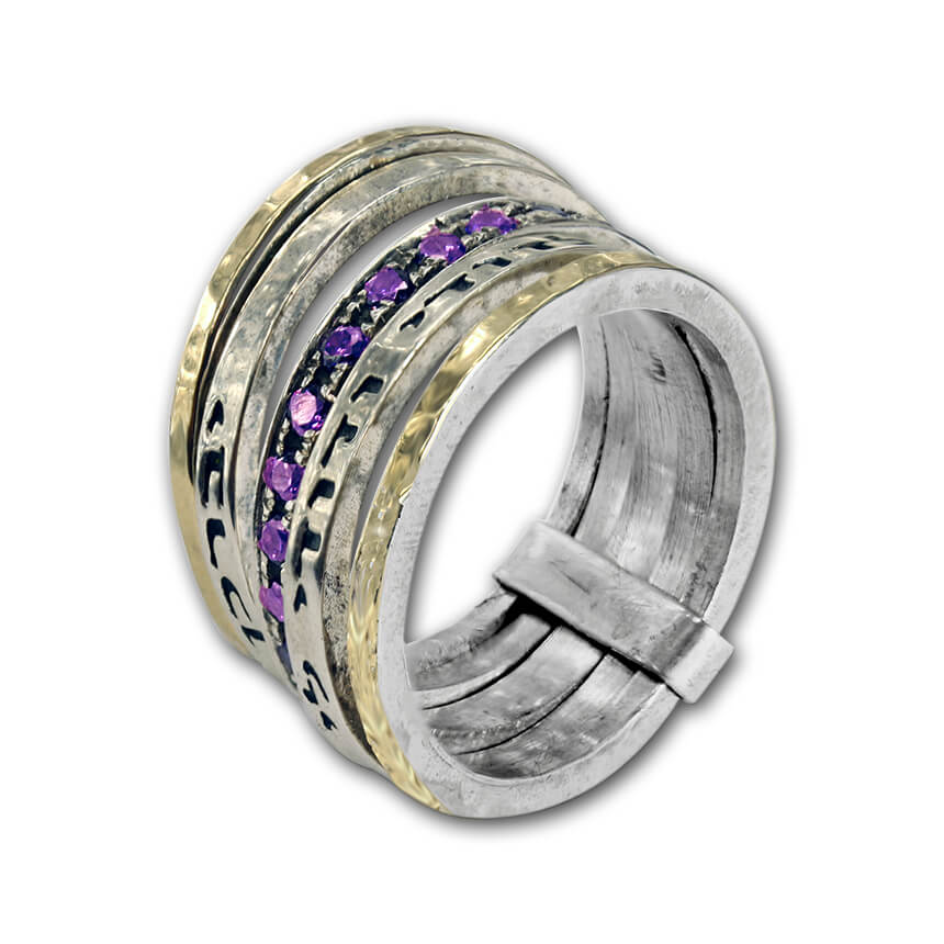 silver multi rings with two blessings and amethyst stones