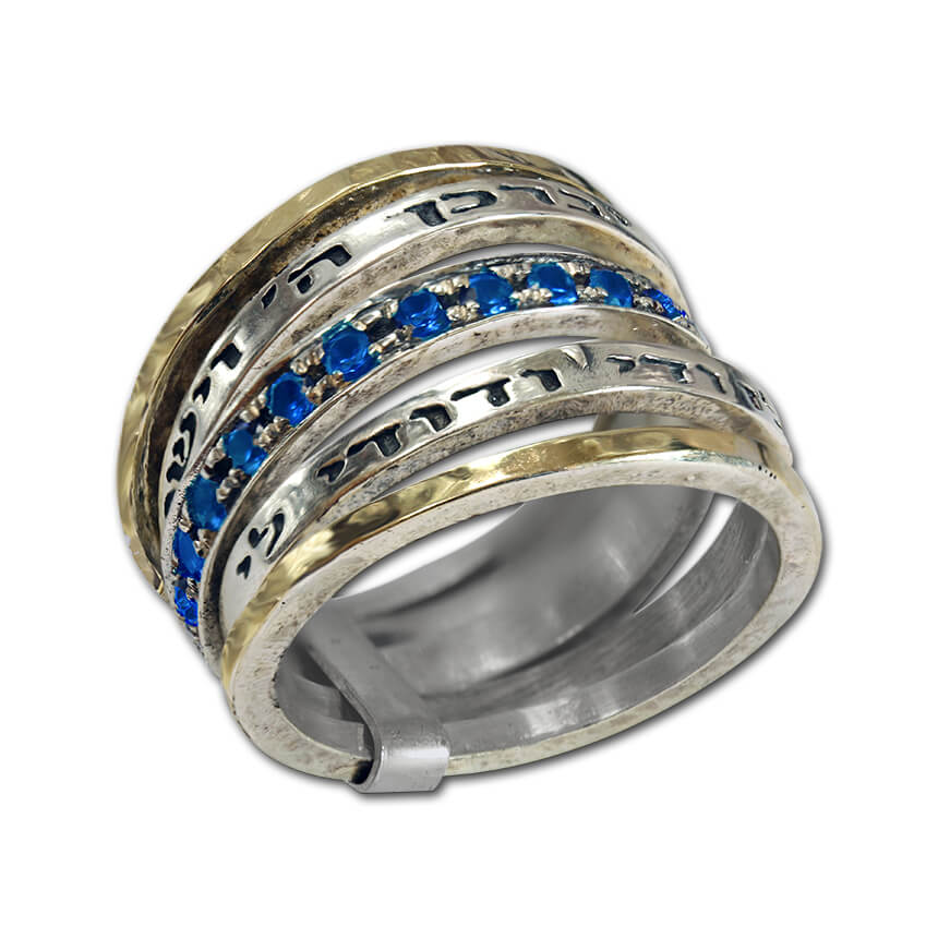 silver multi ring with two blessings and saphire stones